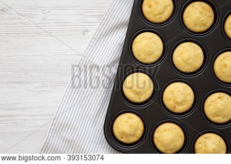 Homemade Cornbread Muffins, Top View. Flat Lay, Overhead, From Above. Copy Space.