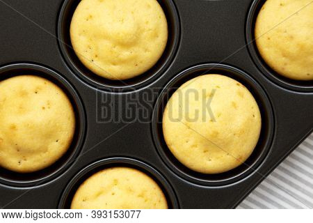 Homemade Cornbread Muffins, Top View. Flat Lay, Overhead, From Above. Close-up.