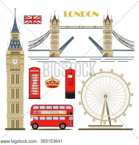 London Landmarks Vector Set. London Symbols Collection. Great Britain Design Elements.