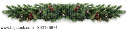 Christmas Border Frame Of Tree Branches With Red Berries And Pine Cones