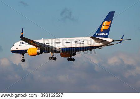 Frankfurt / Germany - December 6, 2012: Icelandair Boeing 757-200 Tf-fir Passenger Plane Landing At