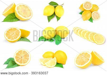 Group Of Lemons Isolated On A White Background Cutout