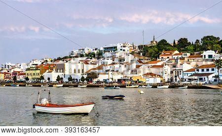 Ferragudo, A Traditional Fishing Village In Algarve, Portugal