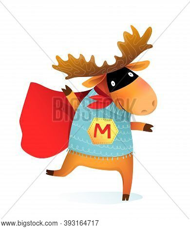 Superhero Elk Moose Or Reindeer Funny Animal Design For Kids. Brave And Silly Animal Character Party