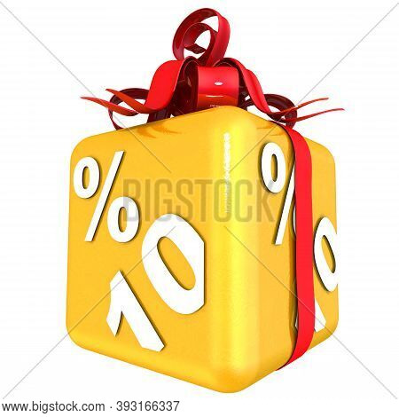Ten Percent As A Gift. The Gold Cube With The Inscription Ten Percent Is Tied With A Scarlet Ribbon
