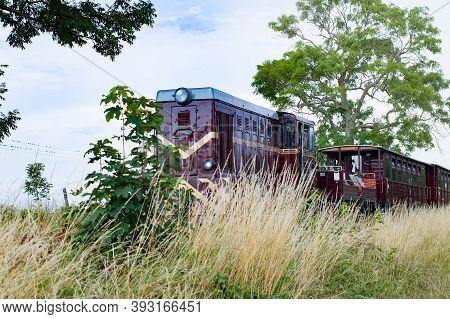 Niechorze, Poland, June 2020 Old Diesel Narrow Gauge Train Departing. Popular Tourist Attraction