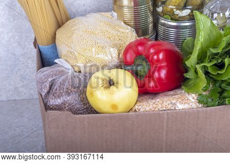 Studio Lighting. Set Of Products. Cereals, Canned Food In Metal Cans. Concept, Subsidy Of A Necessar