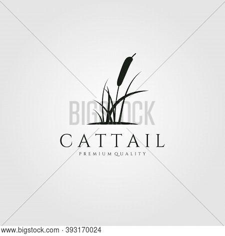 Cattail Premium Logo Vector Illustration Design, Cattail Silhouette Vector Design