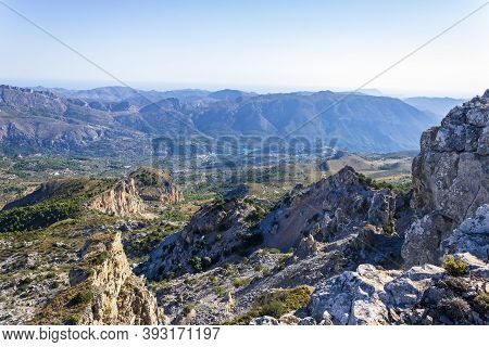 Views From The Partagat Chasms Of The Guadalest Reservoir, Confrides, Alicante, Spain.