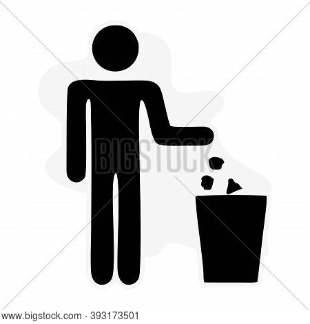 Keep Clean Icon. Do Not Litter Sign. Silhouette Person On White Background. No Throwing Garbage Mark