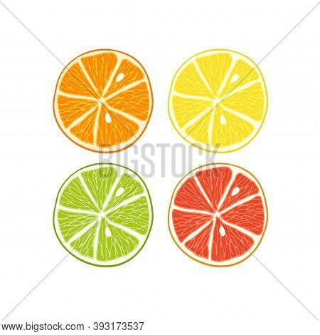 Citrus Set. Slices Of Lime, Orange, Grapefruit, Lemon. Bright Colorfull Isolated On White Background