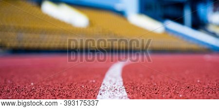 Path For Runners. Racetrack On Outdoor Stadium. Stadium Arena Soccer Field. Healthy Sports Life. Tre