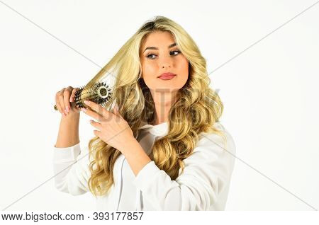 In Need Of Our Care. Girl With Healthy Wavy Long Blonde Hair. Waves And Curls Volume Hairstyle. Blon