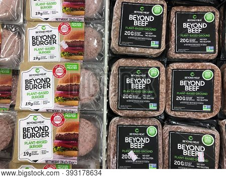 Tel Aviv, Israel - 5 October, 2020: Beyond Meat Brand Plant-based Beyond Beef Packages In The Meat S