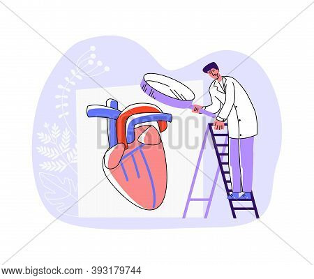 Vector Illustration Of Doctor Examining Heart Organ Through Enlarged Magnifying Glass. Concept Diagn