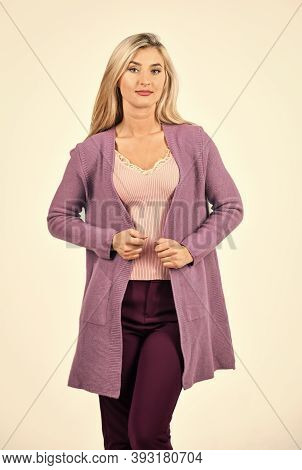 Autumn Style. Female Fashion Style. Pretty Woman With Long Blonde Hair. Sexy Girl Wear Purple Cardig