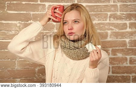 Taking A Cure. Cute Woman Caught Terrible Cold Virus. Sick Woman With Sore Throat Drinking Cup Of Wa