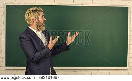 Announcement Of Free Courses. Teachers Enlighten Path Of Success. Teacher Explain Topic. Man Teacher
