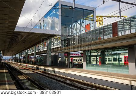 Ghent, Flanders, Belgium - March 11 2018: The Renovated Railway Station Of Gent-sint-pieters (gand-s