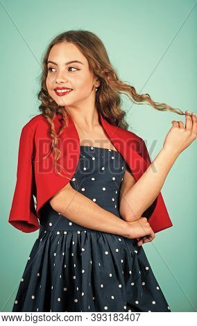 Little Girl Vintage Style Outfit. Retro Kid. Rise Of Vintage Fashion. Popularity Of Vintage Has Also