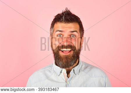 Smiling Man. Bearded Man Portrait. Happy Bearded Man. Smile. Close Up Portrait Of Smiling Bearded Ma