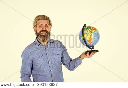 Travel And Wanderlust. Bearded Man With Globe. Earth Day. International Concept. Geography Teacher.