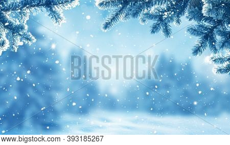 Merry Christmas and happy New Year greeting card with copy-space. Christmas landscape with snow and fir trees. Winter Xmas  background with snow and blurred bokeh.