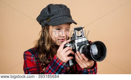 Parisian Child Photographer Use Retro Camera. Stylish Kid Wear French Cap. Vintage Digital Technolog