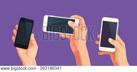 Set Of Phone In Hand Vector. Vector Hand In Template Cellphone Screen For Design Editable Mockup. Co