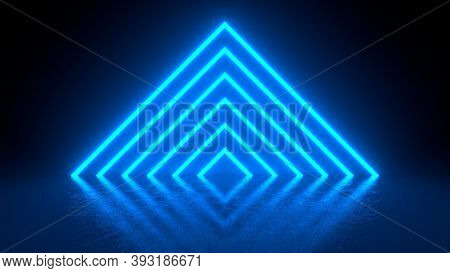 Pyramid Consisting Of Blue Neon Glowing Light Stripes On Black Background. Luminous Lines In A Dark
