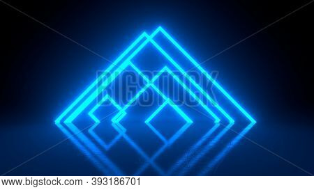 Pyramid Consisting Of Blue Abstract Neon Glowing Light Stripes On Black Background. Luminous Lines I