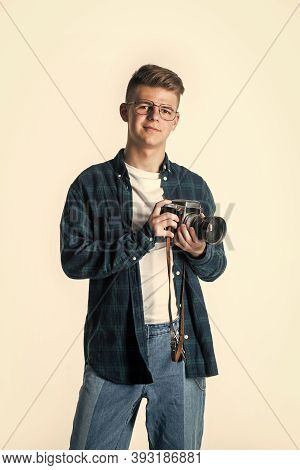 Ready To Work. Young Talented Photographer. Faculty Of Journalism Student. Vintage Camera Technology