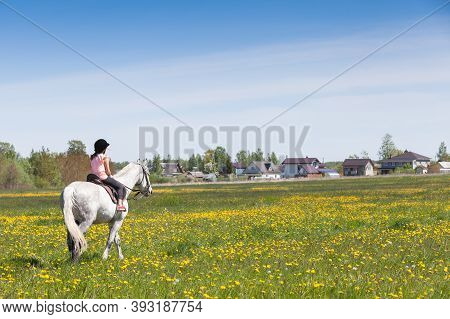 Little Girl Rides White Horse Over Blooming Meadow At Sunny Summer Day, Rear View