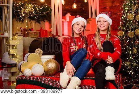 Happy Holidays. Children Having Fun Christmas Eve. Happiness Joy. Family Values. Sisterhood Concept.