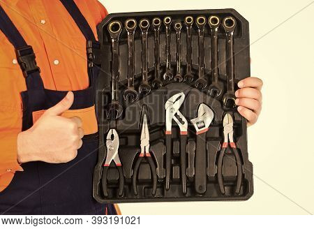 Really Good Tools. Handyman Concept. Professional Equipment. Toolbox Talk. Mechanic Tool Box. Man In