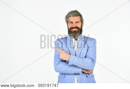 Portrait Of Professional Businessman Isolated On White. Formal Male Fashion. Brutal Beauty And Barbe
