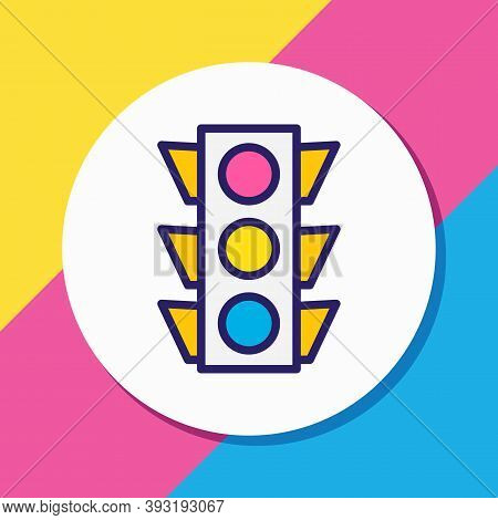 Vector Illustration Of Traffic Lights Icon Colored Line. Beautiful Location Element Also Can Be Used