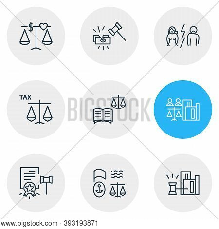 Vector Illustration Of 9 Law Icons Line Style. Editable Set Of Tax Law, Law Book, Real Estate Law An
