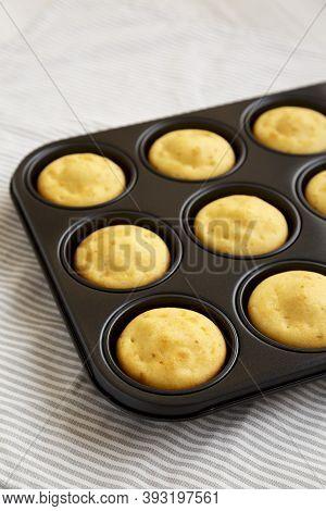 Homemade Cornbread Muffins, Side View. Tasty Food