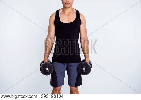 Cropped View Portrait Of His He Nice Attractive Sportive Content Serious Strong Guy Doing Exercise H