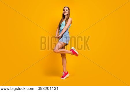 Full Length Body Size View Of Her She Nice Attractive Lovely Winsome Lovable Cheerful Cheery Straigh