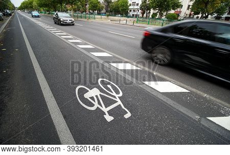 Bucharest, Romania - August 12, 2020: Bicycle Track On A Boulevard In Bucharest.