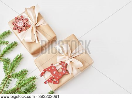 Gift Boxes Christmas Tree Background. Luxury New Year Gift. Merry Christmas Background With Gift Box