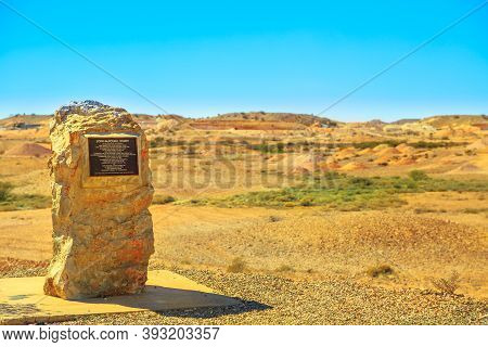 Coober Pedy, South Australia, Australia - Aug 28, 2019: John Mcdouall Stuart Monument, Explorer Of 1