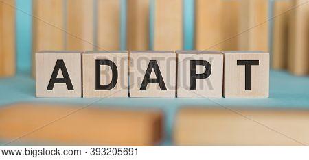 Adapt - Word Written On Wooden Blocks On Light Blue Background.