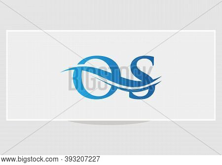 Os Logo Design. Creative And Minimalist Letter Os Logo Design With Water Wave Concept.