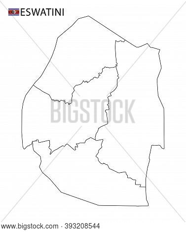 Eswatini Map, Black And White Detailed Outline Regions Of The Country.