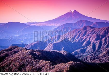 The View Of Mount Fuji And The Mountain Range In The Autumn During Sunrise. As Seen From Mt. Gangaha