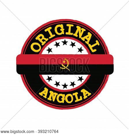 Vector Stamp Of Original Logo With Text Angola And Tying In The Middle With Nation Flag. Grunge Rubb