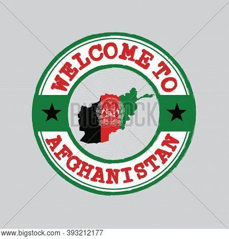 Vector Stamp Of Welcome To Afghanistan With Map Outline Of The Nation In Center. Grunge Rubber Textu